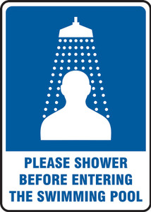 "Safety Sign: Please Shower Before Entering The Swimming Pool, 14"" x 10"", Pack/10"
