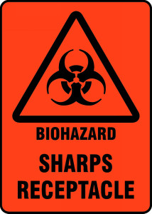 "Safety Sign: Biohazard - Sharps Receptacle, 14"" x 10"", Pack/10"