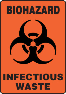 "Safety Sign : Biohazard - Infectious Waste, 14"" x 10"", Pack/10"