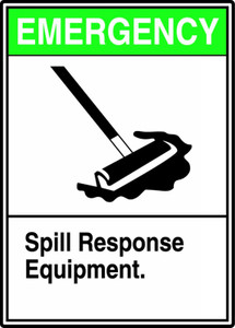 "Safety Sign: Emergency - Spill Response Equipment, 14"" x 10"", Pack/10"