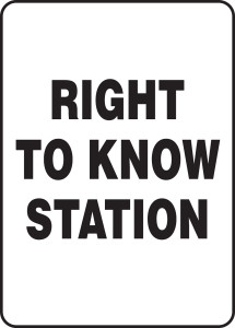 """Safety Sign: Right To Know Station, 14"""" x 10"""", Pack/10"""