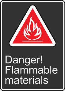 "Safety Sign: Danger! Flammable Materials, 14"" x 10"", Pack/10"