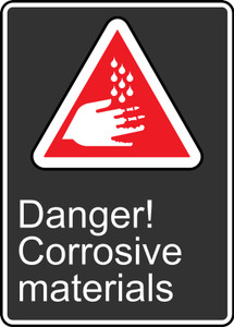 "CSA Safety Sign: Danger! Corrosive Materials, 14"" x 10"", Pack/10"