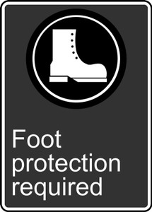 "CSA Safety Sign: Foot Protection Required, 14"" x 10"", Pack/10"