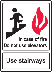 "ANSI Safety Sign: In Case Of Fire Do Not Use Elevators - Use Stairways, 14"" x 10"", Pack/10"