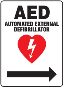 "Safety Sign: AED - Automated External Defibrillator, 14"" x 10"", Pack/10"
