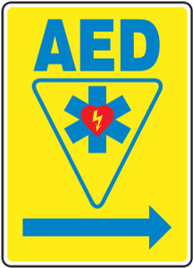 """Safety Sign: AED (Automated External Defibrillator - Right Arrow), 14"""" x 10"""", Pack/10"""