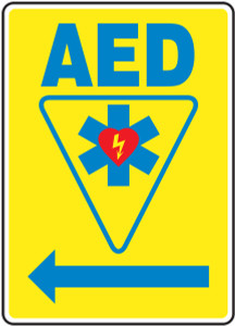 "Safety Sign: AED (Automated External Defibrillator - Left Arrow), 14"" x 10"", Pack/10"