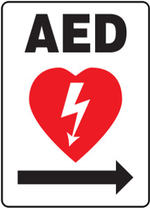 "Safety Sign: AED (Automated External Defibrillator Arrow Right), 14"" x 10"", Pack/10"