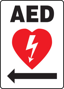 "Safety Sign: AED (Automated External Defibrillator Left Arrow), 14"" x 10"", Pack/10"