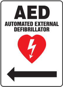 "Safety Sign: AED - Automated External Defibrillator (Left Arrow), 14"" x 10"", Pack/10"