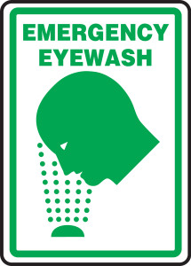 "Safety Sign: Emergency Eyewash (Graphic), 14"" x 10"", Pack/10"