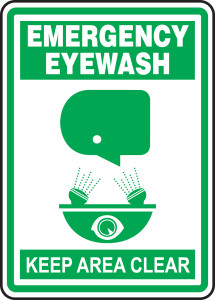 "Safety Sign: Emergency Eyewash - Keep Clear, 14"" x 10"", Pack/10"