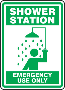 """Safety Sign: Shower Station - Emergency Use Only, 14"""" x 10"""", Pack/10"""