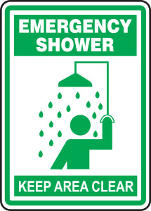 "Safety Sign: Emergency Shower - Keep Area Clear, 14"" x 10"", Pack/10"