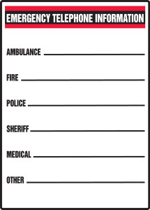 "Safety Sign: Emergency Telephone Information, 14"" x 10"", Pack/10"