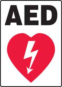 """Safety Sign: AED (Graphic), 14"""" x 10"""", Pack/10"""