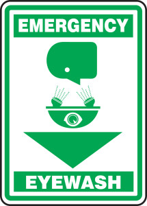"Safety Sign: Emergency Eyewash, 14"" x 10"", Pack/10"