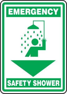"Emergency Safety Sign: Safety Shower, 14"" x 10"", Pack/10"