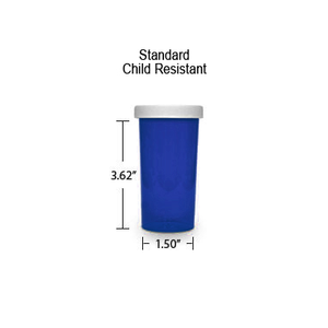 Blue Pharmacy Vials, Child Resistant Caps, 30 dram (1.875 oz)