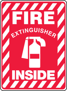 """Safety Sign: Fire Extinguisher Inside (Graphic), 14"""" x 10"""", Pack/10"""