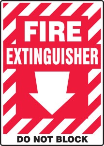 """Safety Sign: Fire Extinguisher - Do Not Block (Arrow), 14"""" x 10"""", Pack/10"""