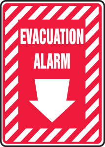 "Safety Sign: Evacuation Alarm (Down Arrow), 14"" x 10"", Pack/10"