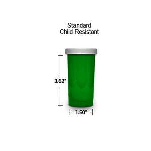 Green Pharmacy Vials, Child Resistant Caps, 30 dram (1.875 oz)