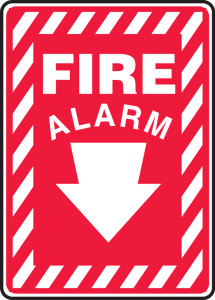 """Safety Sign: Fire Alarm (Down Arrow), 14"""" x 10"""", Pack/10"""