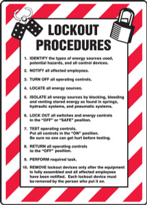 "Lockout/Tagout Sign: Lockout Procedures List, 14"" x 10"", Pack/10"