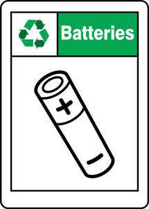 "Safety Signs: Batteries, 14"" x 10"", Pack/10"