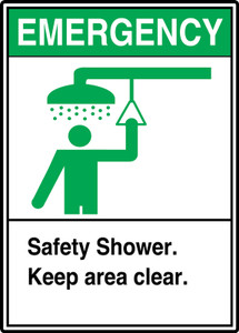 """ANSI Safety Sign: Emergency (Graphic) Safety Shower - Keep Area Clear, 14"""" x 10"""", Pack/10"""