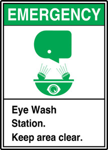 "ANSI Safety Sign: Emergency (Graphic) Eye Wash Station - Keep Area Clear, 14"" x 10"", Pack/10"