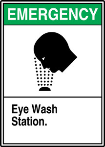 "ANSI Emergency Safety Sign: Eye Wash Station, 14"" x 10"", Pack/10"