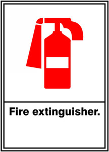 "ANSI SIGN - FIRE EXTINGUISHER, 14"" x 10"", Pack/10"