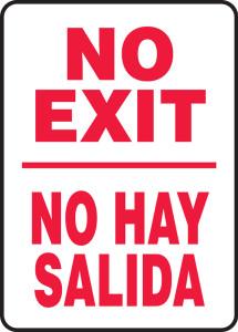 """Bilingual Safety Sign: No Exit/No Hay Salida, 14"""" x 10"""", Pack/10"""