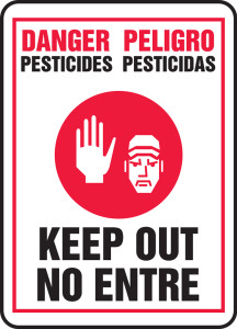 "Bilingual Safety Sign - DANGER: Pesticides - Keep Out, 14"" x 10"", Pack/10"