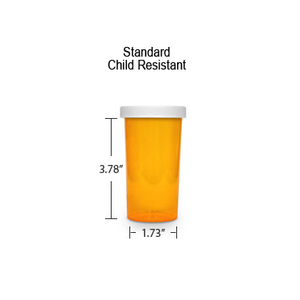 Amber Pharmacy Vials, Child Resistant Caps, 40 dram (2.5 oz)