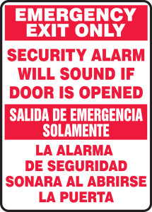 "Bilingual Safety Sign: Emergency Exit Only - Security Alarm Will Sound If Door Is Opened, 14"" x 10"", Pack/10"