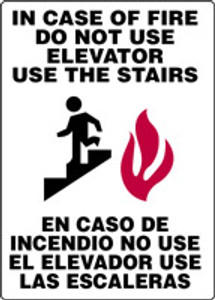 "Bilingual Safety Sign: In Case Of Fire Do Not Use Elevator - Use The Stairs (Graphic), 14"" x 10"", Pack/10"