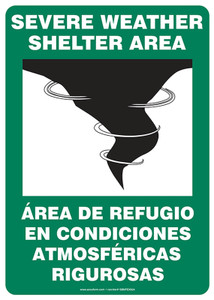 "Bilingual Safety Sign: Severe Weather Shelter Area, 14"" x 10"", Pack/10"