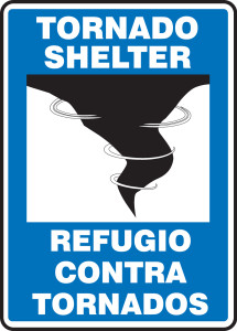 "Bilingual Safety Sign: Tornado Shelter, 14"" x 10"", Pack/10"