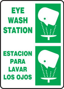 "Bilingual Safety Sign: Eye Wash Station, 14"" x 10"", Pack/10"