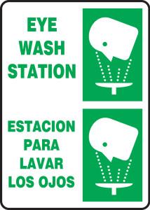 "Bilingual Safety Sign: Eye Wash Station, 14"" x 10"", Pack/10"