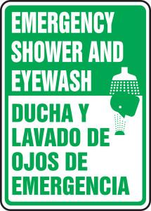 "Bilingual Safety Sign: Emergency Shower And Eyewash, 14"" x 10"", Pack/10"