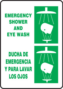 "Bilingual Safety Sign: Emergency Shower And Eye Wash, 14"" x 10"", Pack/10"
