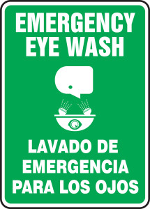 "Bilingual Safety Sign: Emergency Eye Wash, 14"" x 10"", Pack/10"