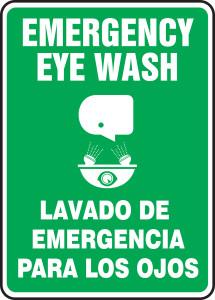 "Bilingual Safety Sign: Emergency Eye Wash, 14"" x 10"", Pack/10"