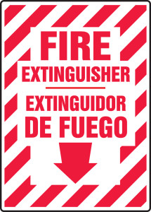 "Bilingual Fire Safety Sign: Fire Extinguisher (Arrow), 14"" x 10"", Pack/10"