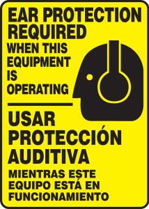 """Spanish Bilingual Safety Sign: Ear Protection Required When This Equipment Is Operating, 14"""" x 10"""", Pack/10"""